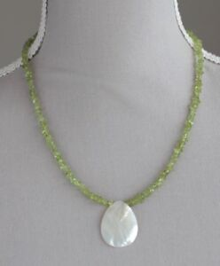 """PERIDOT NECKLACE WITH SHELL PENDANT STERLING SILVER CLASP 20"""" AUGUST BIRTHSTONE"""