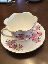 "Vintage English Crown Staffordshire ""Roses� Fine Bone China Teacup & Saucer"