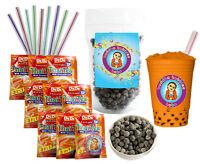 DeDe Instant Boba Tea Kit 9 Drink Packets, Straws & Boba Thai Iced Tea