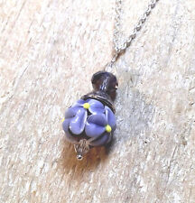 LGL- LAVENDER ROSE Handmade Lampwork Bead Silver Necklace Nc2443 Collectable