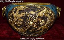 """14""""Cloisonne Enamel 24K Gold Gilt Dynasty Dragon Lion Head Incense Burner Censer"""