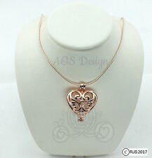 "Pick A Pearl Cage Rose Gold Plated Scroll Work Heart Locket Holds Bead 18"" Chain"