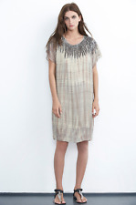 VELVET By Graham & Spencer Beila Beaded Tie Dye Sheer Shift Dress Brown S $218