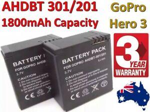 High Capacity 1800mah Battery for GoPro HERO 3 3+ AHDBT 301 /201 + 3 Yr Warranty