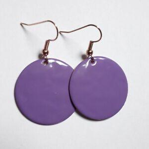 Purple Round Drop Earrings