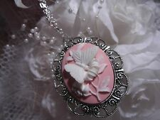 #JR6715  Pink white Butterfly Cameo Wedding Necklace Pendant bridal 3d victorian