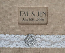 Rustic Scrapbook or Photo Album 12x12 Burlap, Lace, Bling Wedding pictures gift