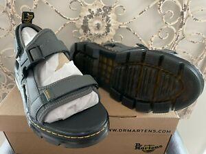 DR. MARTENS Men's US 9 (UK 8) Gunmetal Polyester Split Leather Forster Sandal