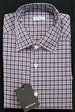 $750 Kiton Napoli Dress Shirt Red Blue White Plaid Slim Fit 100% Cotton 16 41