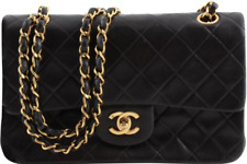 Chanel Double Flap Classic Quilted Black Lambskin Leather Shoulder Bag