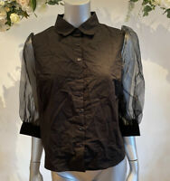 Influence Shirt Blouse Top Size 8 & 12 Black Cotton Organza Puff Sleeve NEW GO92