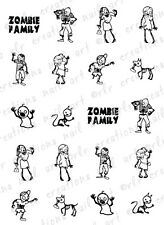20 NAIL DECALS * ZOMBIE STICK FAMILY * WALKING DEAD WATER SLIDE NAIL DECALS