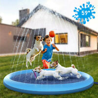 Dogs Kids Splash Pad Sprinkler Inflatable Play Mat Wading Pool Water Outdoor Toy