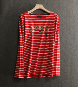 New ex JOULES UK Size 24 Red White Striped Baubles Print Harbour Jersey Top