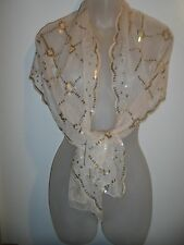 Shawl Wrap Scarf Gold Lace Mesh Sequin Geometric Nude Beige Shiny Spring Party
