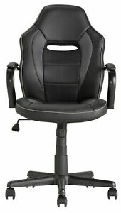 Used Home Mid Back Gas Lift  Tilt Swivel Lock Office Gaming Chair Black - FT12