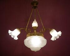 CLASSIC ANTIQUE BRASS LAMP CHANDELIER OLD 5 LIGHT LUSTRE BRONZE FIRE GLASS SHAPE