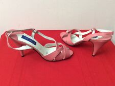 Cincin Vtg 80s Pink Leather High Heel Shoes Sandals Pumps 7.5m. (box34)