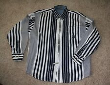 "Guess Classic Sportswear Long Sleeve Casual Shirt in Black and White Stripes ""L"""