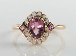 DAINTY 9K 9CT ROSE GOLD PINK TOURMALINE OPAL ART DECO INS CLUSTER RING FREE Sz
