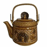 Vintage Japanese Peacock Teapot Brown Glazed Ceramic With Wicker Handle 1970