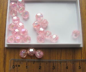 200 AB round faceted plastic acrylic beads LIGHT BABY PINK 5.5mm 6mm transparent