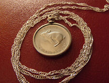 "CANADA RABBIT CLASSIC COIN Pendant on 28"" 925 Wavy Silver Chain,  23mm diameter"