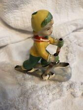 Vintage Porcelain Cross Country Skier Figurine Japan