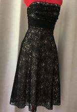 Black Cocktail Sexy Flirty Dress Womens Sz Size Medium 10 Lace Strapless FREE