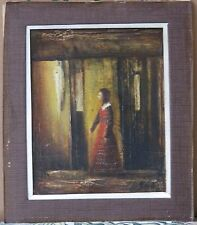 Powerful Symbolist Oil-1940's-Woman In Red By Building-Signed-Sleeper