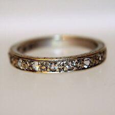 Vintage White Sapphire 9ct White gold Half Eternity ring size K ~ US 5 1/4