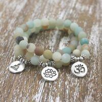 Women Men Matte Amazonite Stone Beads OM Lotus Buddha Yoga Reiki Chakra Bracelet
