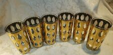 Set of 6 Mid Century Culver 22-Karat Gold Highball Bar Glasses Pisa Pattern