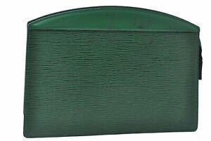 Authentic Louis Vuitton Epi Trousse Crete Clutch Bag Green M48414 LV D4536