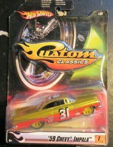 Hot Wheels Custom Classics G Machines 1:50 59 Chevy Impala Stock Race O Red Gold