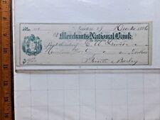 1886 Merchants National Bank of Newton, New York Bank Check. Punch-cancelled.