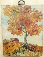 FALL SCENE, ORIGINAL PAINTING by RUTH O'BRIEN, PITTSBURGH, PA, 1970s