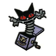 Nightmare Before Christmas Cat-in-the-Box Iron-On Patch Halloween Toy Applique