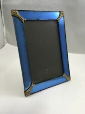 Vintage Art Deco Blue Glass Frame with Gilded Corners 5.5� x 3.5� Window