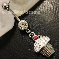 14g Cz Dangle Sparkle Cupcake  Belly Button Navel Ring Piercing