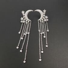 74ac7e50a Shiny Silver Tone CZ Pave Crescent Moon Falling Stars Long Tassel Drop  Earrings