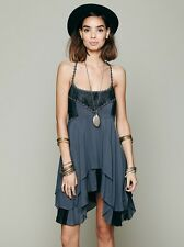 Free People Pieced Lace Tunic Trapeze Slip Dress M Storm Blue Gray Rare