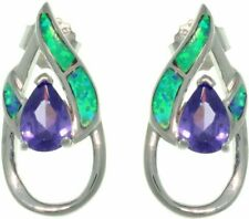 Jewelry Trends Sterling Silver Created Opal and Purple CZ Double Pear Shaped Ear