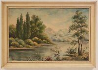 """Vintage Oil Painting on Board River Landscape Signed Framed Art  (15.5"""" x 22"""")"""