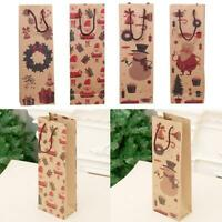 Sac de cadeau de Noël Kraft papier bouteille de vin faveur de Noël fournitures