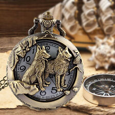 Antique Vintage Wolves Retro Bronze Quartz Pendant Chain Necklace S+.
