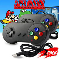 2Pack Retro Super SNES USB Controller Gamepad for Windows PC MAC Linux Black