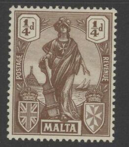 MAT0231 George V Malta 1922 SG123 brown 1/4 d mounted mint stamp