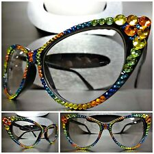 Women's VINTAGE RETRO 60's CAT EYE Clear Lens EYE GLASSES Crystal Frame Handmade