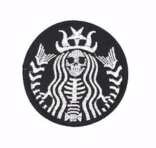 Dead Skeleton Barista Mermaid Embroidered Patch Iron On Gothic Coffee Punk Skull